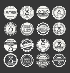 Anniversary retro labels 25 years collection 3 vector