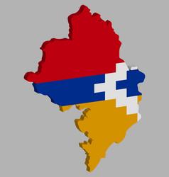 Artsakh nagorno karabakh republic map flag 3d vector