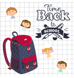 back to school time backpack and notebook sheet vector image