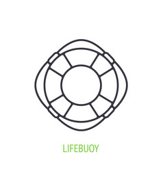 beach lifebuoy outline icon emergency rescue vector image