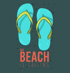 Beach summer poster design with flip flops vector