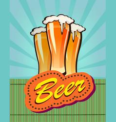 Beer against backdrop vector