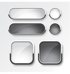 black and white button set design vector image