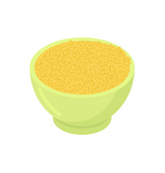 Bowl of millet cereal isolated healthy food for vector