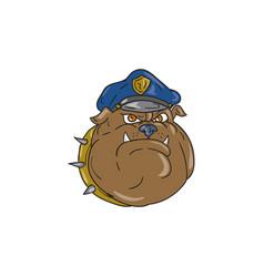 bulldog policeman head cartoon vector image