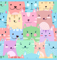 cat kitty - cute funny pattern vector image
