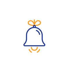 christmas bell line icon new year tree decoration vector image