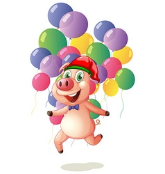 Christmas theme with pig and balloons vector