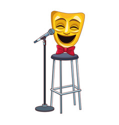 comedy theater mask on bar stool and stand vector image