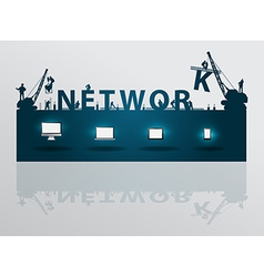Construction site crane building network text vector