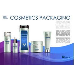Cosmetics template with creme box in violet vector