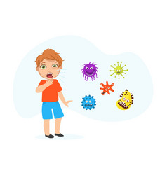 Coughing boy spreading virus and bacteria child vector