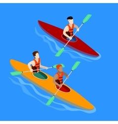 Couple Paddling in Kayak Kayak Isolated Isometric vector image