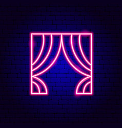 Curtains neon sign vector