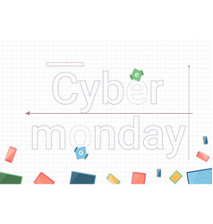 cyber monday sale banner with modern technology vector image