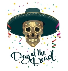 Day of Dead Skull in Mexican Hat Dia de Muertos vector