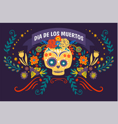 dia de los muertos skull decorated with flowers vector image
