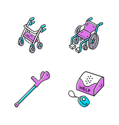 Disabled devices color icons set rollator manual vector