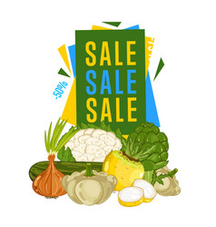 Discount sale poster with fresh vegetable vector