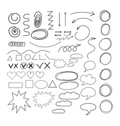 Doodle geometric shapes arrows set hand-drawing vector