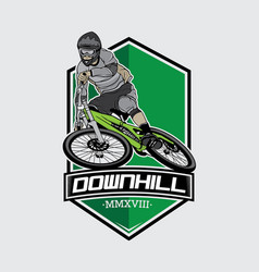Downhill mountain bike logo vector