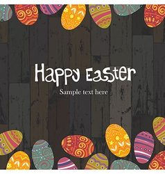 easter eggs on wooden backround vector image