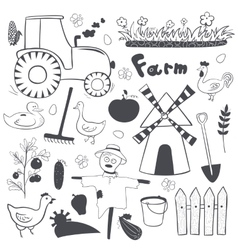 farm black and white set in doodle style vector image