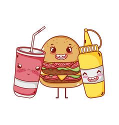 Fast food cute burger mustard and takeaway cup vector