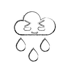 figure kawaii nice funny cloud raining vector image