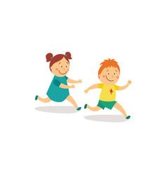 Flat girl and boy runnin catch-up vector