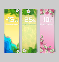 Floral discount coupon paper cut templates vector