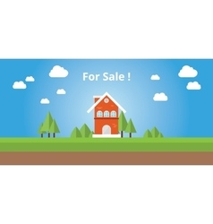 for sale house with text on top of the house vector image