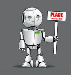 funny kid robot showing place your text here vector image