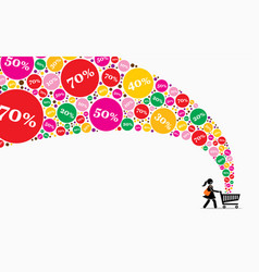girl pushing shopping cart on a sales day artwork vector image