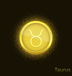 golden taurus sign vector image