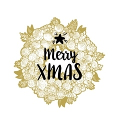 Golden wreath and Merry Xmas vector