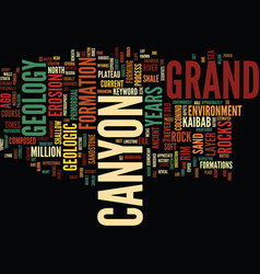 Grand canyons geology text background word cloud vector