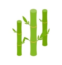Green bamboo stems icon isometric 3d style vector