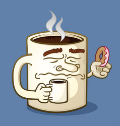 grumpy coffee cartoon character eating a donut vector image