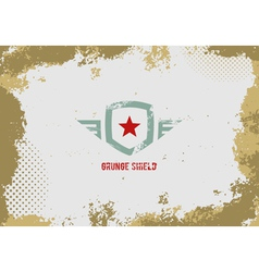 Grunge shield design element on grunge background vector image