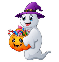 Halloween ghosts holds pump vector