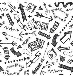 hand drawn doodle arrow pattern set vector image