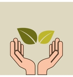Hands care environment plant leaf vector