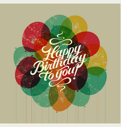 Happy birthday to you retro grunge birthday card vector