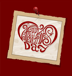 Happy valentines day hand drawing lettering red vector