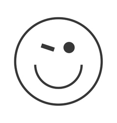 happy wink emoticon icon vector image