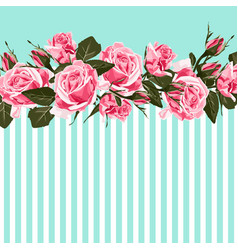 horizontal striped pattern with pink rose peony vector image