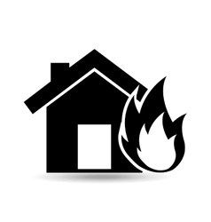 House and flame icon vector