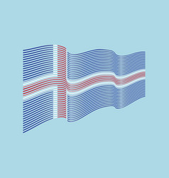 iceland flag on blue background wave strip vector image