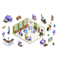 Isometric people in beauty salon concept vector